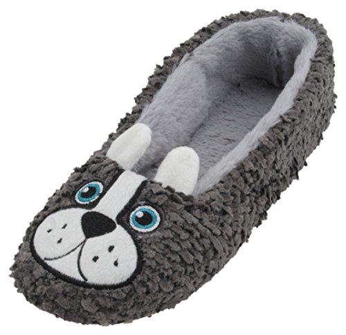 SlumberzzZ , Damen Hausschuhe Grey Dog