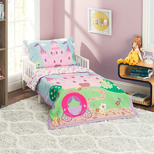 Everyday Kids 4 Piece Toddler Bedding Set -Princess Storyland- Includes Comforter, Flat Sheet, Fitted Sheet and Reversible Pillowcase