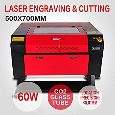 Iglobalbuy 60W CO2 Laser Engraving Machine Laser Cutting Machine Carving Tools Artwork Milling Woodworking w/ USB Interface