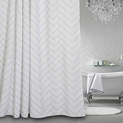 Chic D White Grey Striped Chevron Pattern 84 inch Extra Long Shower Curtains Fabric Polyester Bathroom Curtains Hooks (Grey Shower Curtain Long)