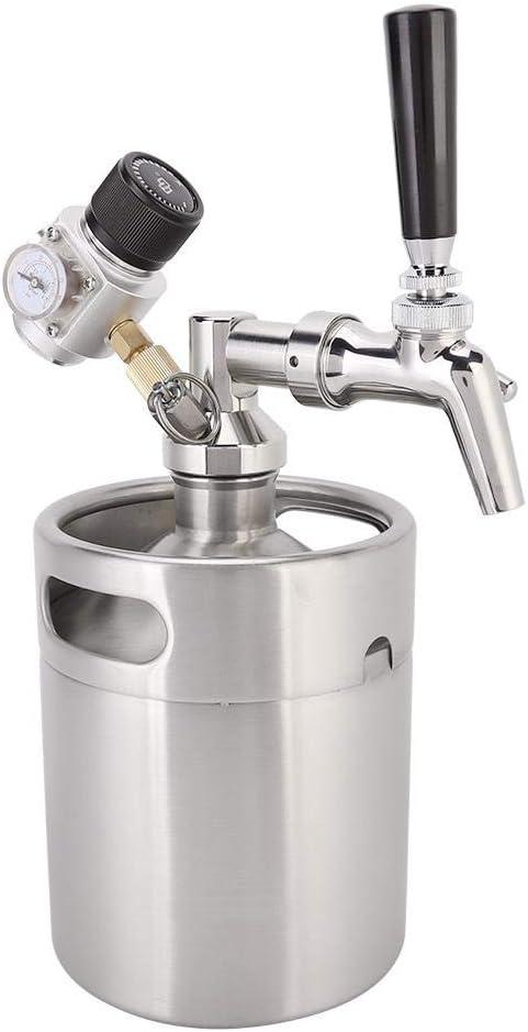 Zouminyy Barril de cerveza, kit de mini barril Homebrew de acero inoxidable de 2L Grifo de cerveza + Lanza + Barril + Manómetro para cerveza artesanal, barril y Homebrew