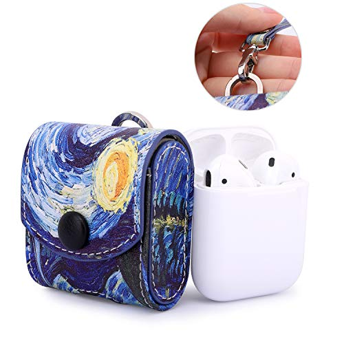 MoKo AirPods Case, Snap Closure Protective Cover Carrying Pouch Pocket, with Holding Strap, for Apple AirPods 1 & AirPods 2 Charging Case - Starry Night