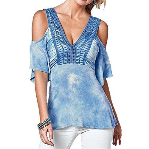 Clearance! ZOMUSA Women Summer Print Hollow V Neck Shirt Tee Blouse (XXL, Blue)