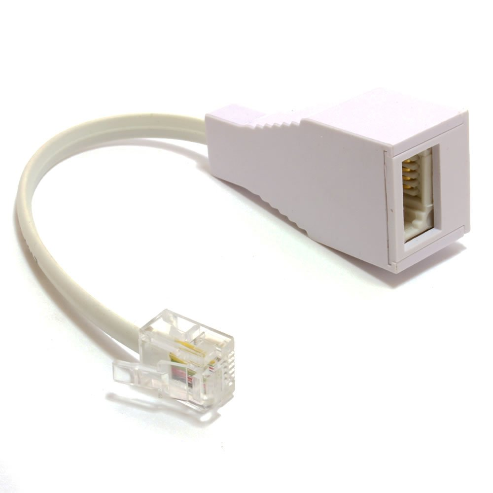 Kenable Rj11 4 Wire To Bt Telephone Female Socket Us To Uk Adapter 6p4c 10cm