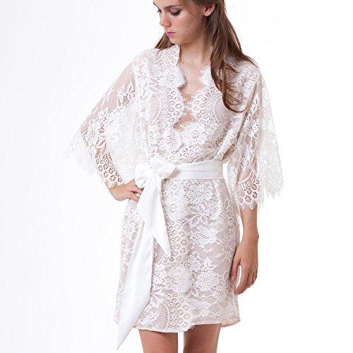 YOcheerful Women Lingerie Hollow Out Sleepwear Underwear Lace Coat Nightwear+G-String Loose Lingeries(White, S)