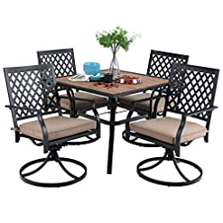 """Garden and Outdoor PHI VILLA 5 Pieces Patio Dining Set Outdoor Table and Chairs 1 Wood Like 37"""" x 37"""" Patio Dining Table with Patio Swivel… patio dining sets"""