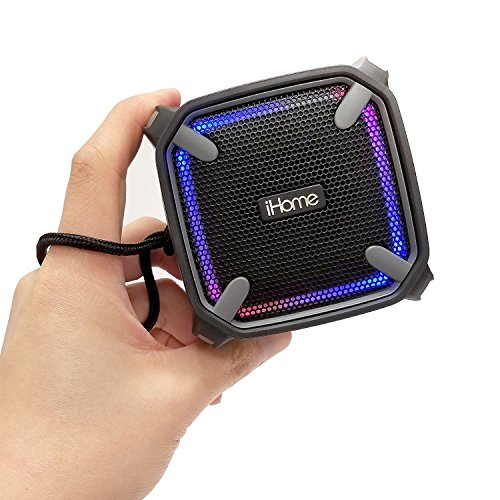 (iHome Weather Tough Portable Rechargeable Bluetooth Speaker with Speakerphone and LED Accent Lighting)