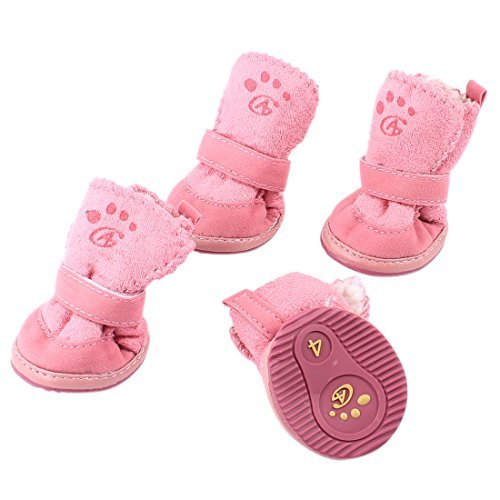 Amazon.com : eDealMax De cierre desmontable Para mascotas Zapatos Botines XS 2 Par rosa : Pet Supplies