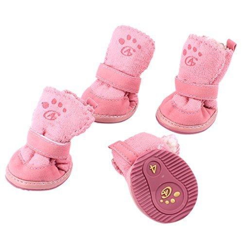 Amazon.com : eDealMax De cierre desmontable Para mascotas Zapatos Botines XS 2 Par rosa : Pet Supplies