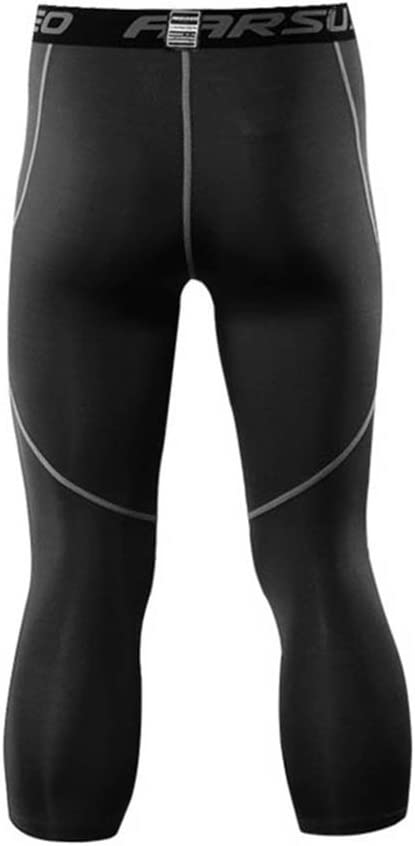 emansmoer Hommes Compression Sports Collants Extensible 3//4 Capri Pantalon Base Couche Leggings Respirant Cyclisme Shorts Running Football Athletic Court Trousers