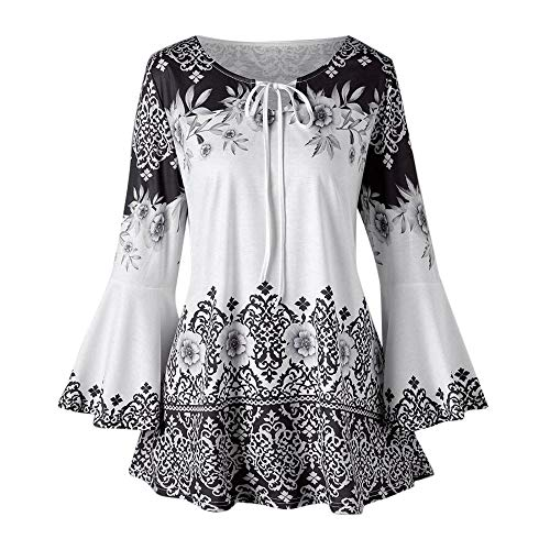 Women Floral Print Tunic Tops 3/4 Long Sleeves Casual Loose Floral Blouse Button Up Print Tees T Shirts Vest Black ()