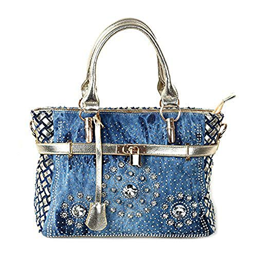 New Arrival Diamond Embroidered Denim Top Handle Bag Tote, Gold