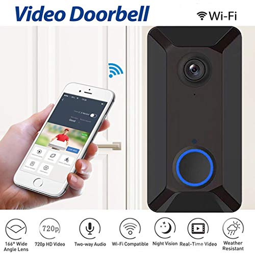 Smart Wireless WiFi Video Doorbell - Visual Intercom Door Bell - HD Security Camera - Long Standby Wide Angle Cloud Storage with PIR Motion Detection Night Vision Video Two-Way Talk (BLACK)