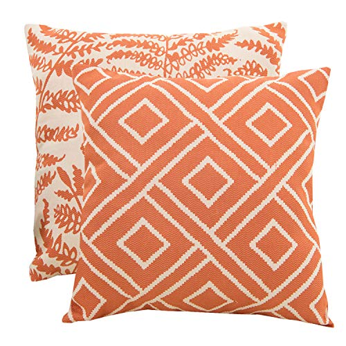 SUNSHINE FASHION Pack of 2 Modern Farmhouse Throw Pillow Covers Decorative Textured Square Accent Cushion Covers Set for Sofa, 18 x 18 inches(45cm) (Checker+Leaf-Orange, 2) ()