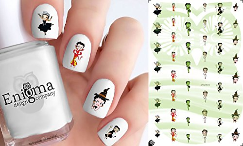 Betty Boop Halloween Accessories (Clear Water-Slide Nail Decals) ()
