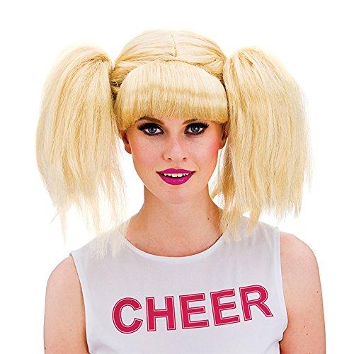 [Wicked Ladies Blonde Pigtails Cheerleader School Girl Wig Fancy Dress Accessory] (Blonde Pigtail Wig)
