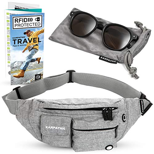 Fanny Pack for Women and Men - Travel Waist Bag with RFID Protection + Karpathic Microfiber Sunglasses Pouch included