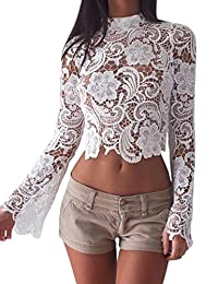 Women's Fashion Slim Fit Lace Long Sleeve Floral Blouse T-Shirt Tank Crop Tops