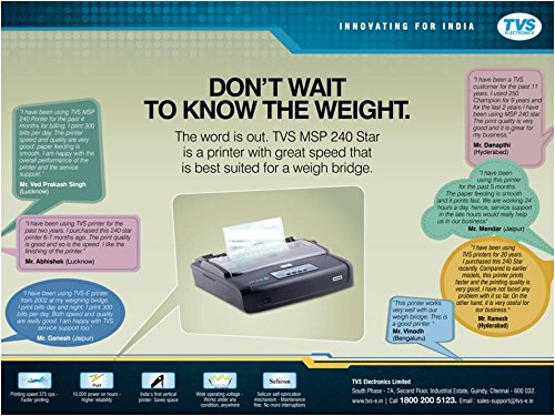 Tvs Printer-240 Monochrome Dot Matrix Printer