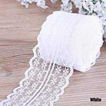 TR.OD 4.5CM 10 Yards Retro Embroidered Lace Trim Ribbon DIY Craft Sewing Decor White