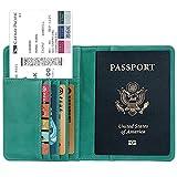 Green Rfid Blocking Leather Case 9 Slot Passport Card Holder Travel Wallet Cover Case