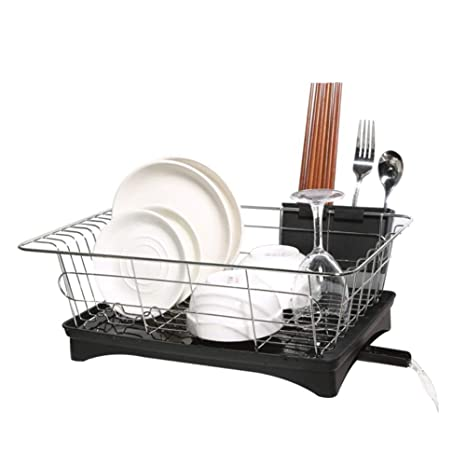 Image Unavailable. Image not available for. Color  Dish Drainer Stainless  Steel Drying Rack with 3-Piece Set and Removable Utensil Holder Small efe28015eca9