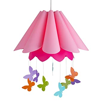 Pretty Children s Pink Umbrella Design Ceiling Pendant Light Shade with  Colourful Hanging Butterflies. Pretty Children s Pink Umbrella Design Ceiling Pendant Light Shade