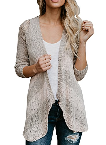 Lightweight Striped Sweater - Women's Lightweight Striped Cardigan Sweaters Open Front Long Sleeve Knit Cardigans Duster Top