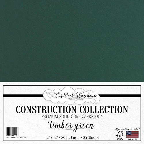 Timber Green/Dark Green Cardstock Paper - 12 x 12 inch Premium 80 LB. Cover from - 25 Sheets from Cardstock Warehouse
