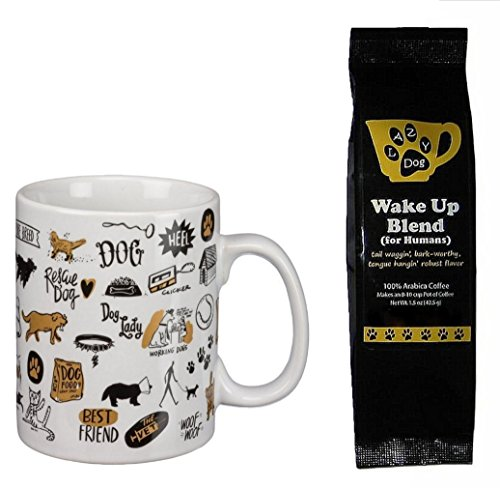 Puppy Dog Icons Pictures Words Mug and Lazy Dog Wake Up Blend Coffee for Humans Gift Set Bundle (2 Items)