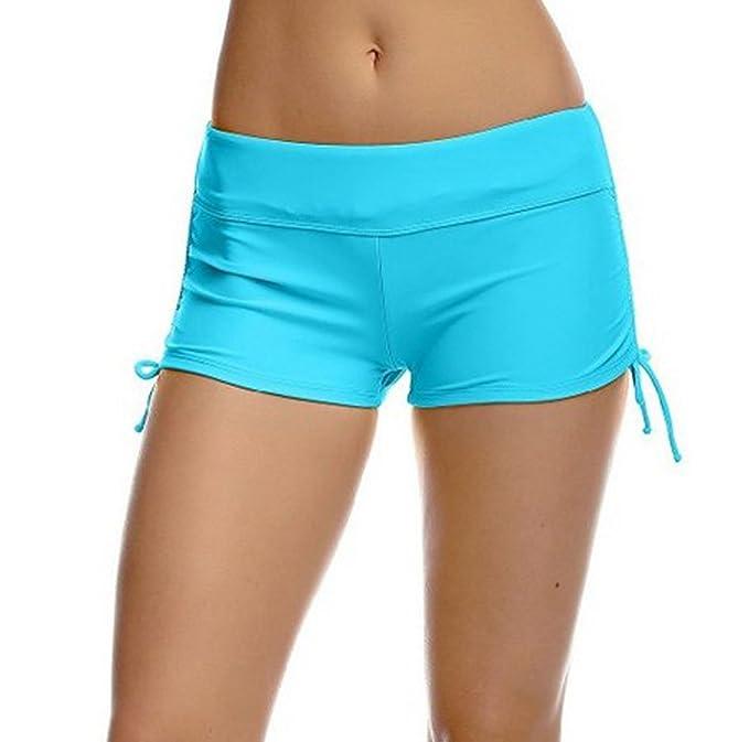 ccf96f3ccef8 Imixcity Shorts de Natación para Deportes Acuáticos para Mujer Bikini  Bottoms Traje de Baño Pantalones Cortos de Protección UV con Cordones  Ajustables