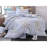 Tencel Cotton and Linen Four Sets of Cotton Bed Linen Bedding Summer 4 Sets of Sheets ZXCV (Color : 2, Size : 220 * 240cm)