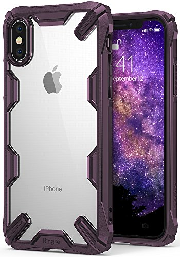 ringke apple iphone x case, iphone 10 case, [fusion x] ergonomic transparent [military drop tested defense] hard pc back tpu bumper impact resistant p