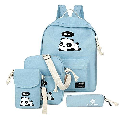 4pcs Girls Canvas Cute Everpert Blue Print Women Panda Bags Shoulder Girls Backpacks Set Schoolbags qwfEdgE