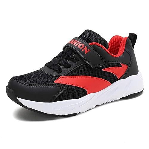 Zapatillas Deportivas para niños con Amortiguador de Velcro Antideslizante Zapatillas de Deporte Casual Negras para niños al Aire Libre Boy Girl Zapatillas ...