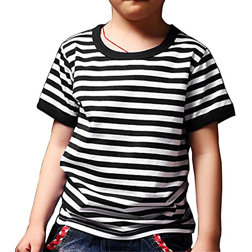 Ezsskj Kid's Boys Short Sleeve Black White Striped T Shirts Fashion Tee Tops 130 - T-shirt Striped Tee