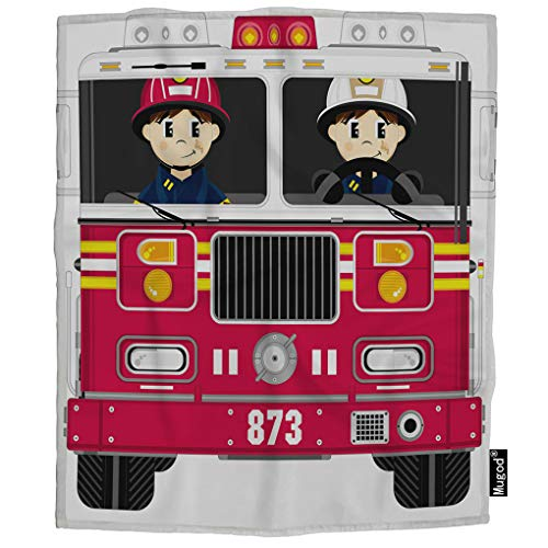 Mugod Fireman and Fire Engine Throw Blanket Cartoon Firefighter Badge Helmet Fire Truck Red Soft Cozy Fuzzy Warm Flannel Blankets Decorative for Baby Toddler Swaddle Dog Cat 30X40 Inch