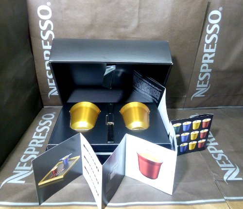 Nespresso Special Gift Set 2 Pixie Espresso Volluto Cups & Stirrers , In Brand Box , New