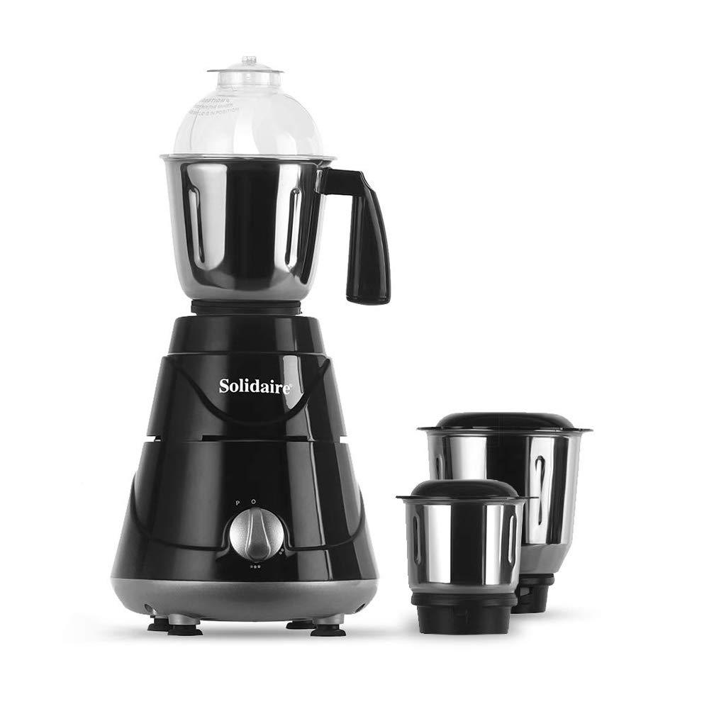 Solidaire 550-Watt Mixer Grinder with 3 Jars (Black) (SLD-550-B)
