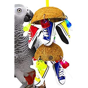 Bonka Bird Toys 1782 Duo Coco Sneaker parrot bird cage african grey cockatoo amazon conure quality spoon products sandals aviary coconut husk pacifier rope perch beak domes 98