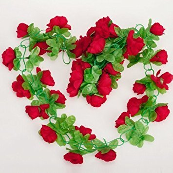 Ourbest Artificial Rose Garland Silk Flower Vine for Home Wedding Garden Decoration - Red