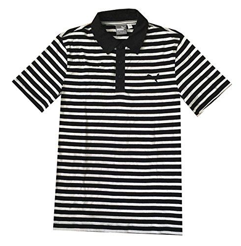 - PUMA Men dryCELL ESS Striped Jersey Golf Polo Shirt (S, Black/white)