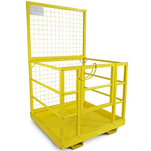 Forklift Safety Cage Work Platform Lift Basket Aerial Fence Rails Yellow 2 man by Titan Attachments