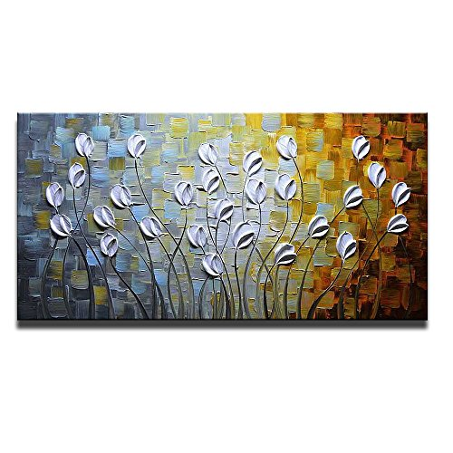 Cottage Framed Picture Art Decor (Asdam Art - Oil Paintings on Canvas Budding Flowers 100% Hand-Painted On Canvas Abstract Artwork Floral Wall Art Decorative Pictures Home Decor White (24X48 inch))