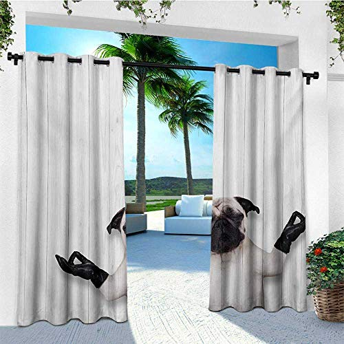 leinuoyi Animal, Outdoor Curtain Panels Set of 2, Spiritual Funny Bulldog with Leather Gloves on Wood Board Funny Cute Image Print, Fabric W96 x L96 Inch Black White