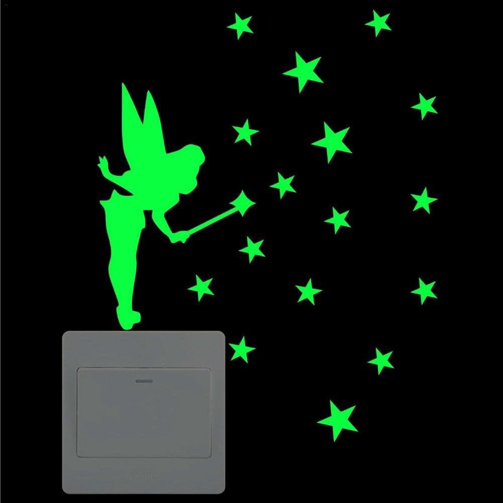 parfait pour chambre denfants d/écor de chambre Stickers muraux amovibles Art Mural Mignon bricolage interrupteur lumineux autocollant f/ée /étoiles chat Wall Sticker