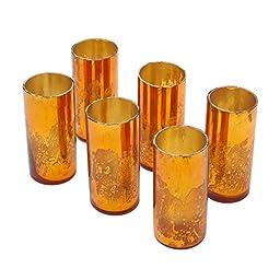 Copper Mercury Glass Votive Holders, Set of 6