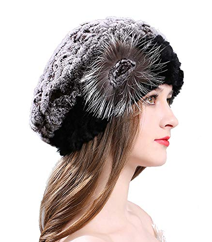 (Winter Berets Womens Rex Rabbit Fur Beanies Knitted Cashmere Hats (Coffee))