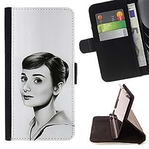 KingStore / Leather Etui en cuir / Samsung Galaxy S3 III I9300 / HEPBURN - DIBUJO HERMOSA