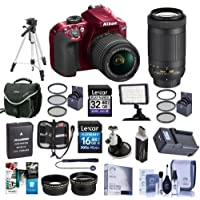 Nikon D3400 DX-Format DSLR Camera Body with AF-P DX NIKKOR 18-55mm F/3.5-5.6G VR Lens, Red - Bundle with 16/32GB SDHC Card, Camera Bag, Spare Battery, Tripod, Video Light, Software Package, More